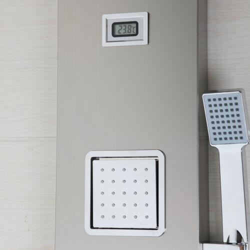UK Nickel Digital Screen Shower Panel Massage Jets Hand Shower Mixer Faucet Set