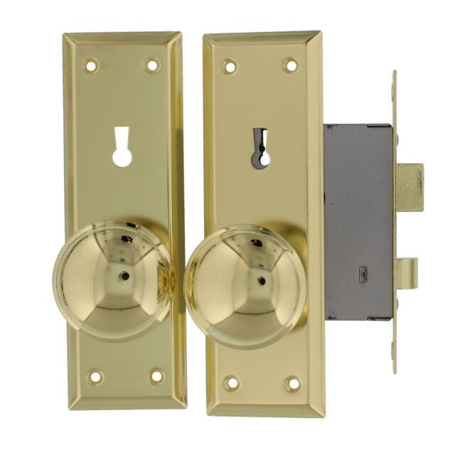 """Brass Door Locks 2-1//4/""""  Old Time Mortise Interior Door Lock Set New"""