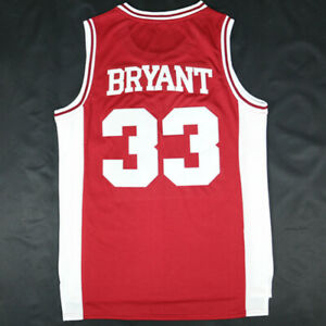 Kobe-Bryant-33-Lower-Merion-High-School-Basketball-RED-white-Jersey-Stitched