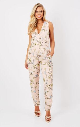New Women/'s Ladies Floral Print Summer Jumpsuit