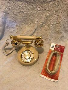Vintage-1984-Western-Electric-AT-amp-T-Celebrity-Rotary-Phone-Gold-Creme-Bonus