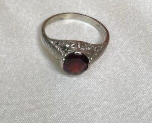 Vintage, Estate 10k White Gold Garnet Ring ~ Beautiful Filigree Design