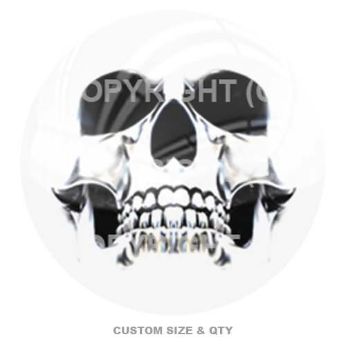 Ghost Skull White Premium Glossy Round 3D Epoxy Domed Decal Indoor /& Outdoor