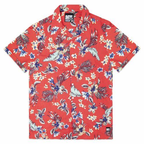 Red Navy Superdry Hawaiian Box Short Sleeve Shirt Black Superdry Shirts