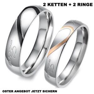 2-Partner-Ringe-Freundschaftsringe-Eheringe-Herz-Liebe-Gravur-2-KETTEN-Neu