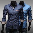 New Fashion Mens Luxury Long Sleeve Casual Slim Fit Stylish Dress Cowboy Shirts