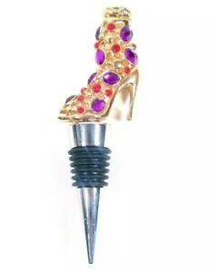 Details About Shoe Wine Stopper Gold Color With Purple Red Stones High Heel Glitz Bling Pump