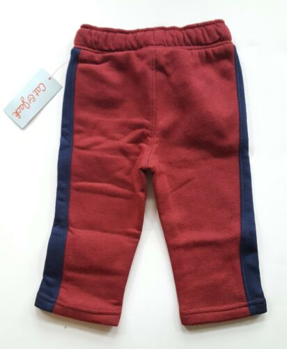 Size 12M 18M 3T 4T 5T 7 Cat /& Jack Boys Maroon Red Sweatpants with Navy Stripe