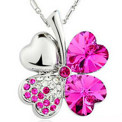 Charming Women Girl Silver Clover Lucky Crystal Pendant Chain Necklace Gifts Hot