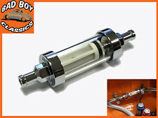 "UNIVERSAL Chrome & Glass Fuel Petrol Diesel Inline Filter 5/16"" 8mm"
