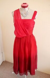 MONICA-BLACK-LABEL-Red-100-Pure-SILK-DRESS-Size-10-BNWT-NEW-Cocktail-Evening