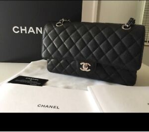 6f6b30215922d9 NWT Box CHANEL 2018 Black Caviar Leather M/L Double Flap Shoulder ...