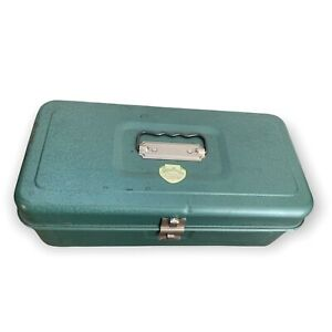Vintage My Buddy Metal Tool Tackle Box with Tray #1351 Teal Green