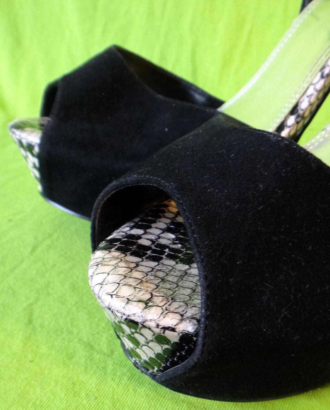 BAKERS Stilleto high heel strap platform SNAKE skin ankle strap heel 11M stripper suede 5in e988d5