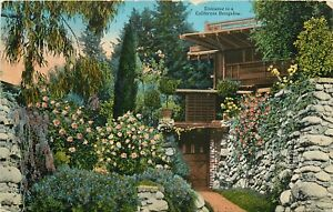 DB-Postcard-CA-D592-Entrance-to-a-California-Bungalow-Arts-and-Crafts-Home-Stree