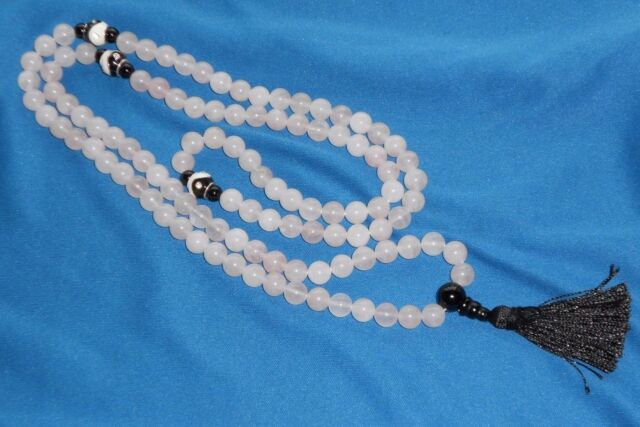 108 bead mala: 8mm natural rose quartz gemstones & black onyx Guru beads