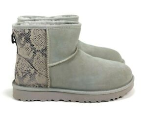 10e140d900e Details about Ugg Women's Classic Mini Metallic Snake-Embossed Panel  Sheepskin Lining Boots