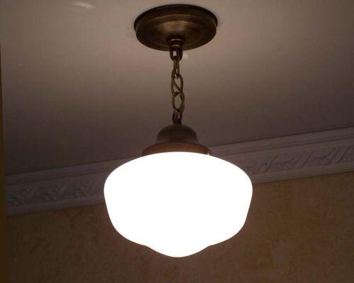 814b Vintage Brass SchoolHouse Ceiling LIght Fixture Sale more availabe