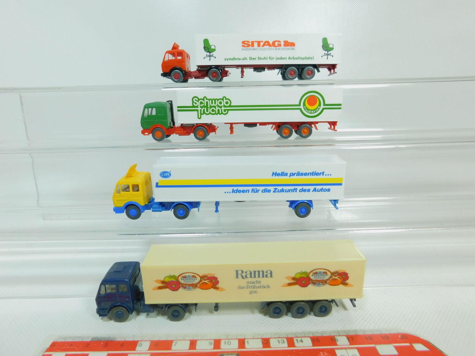 BO682-0,5 x Wiking H0   1 87 Lorry MB  Rama + Sitag + Hella + Schwab Fruit,VG