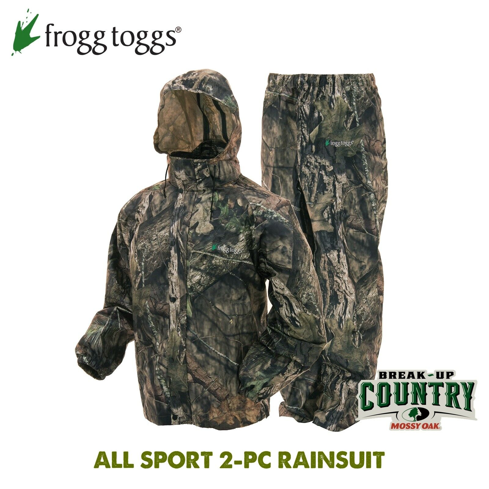 Frogg Toggs ALL SPORT Mossy Oak BU Country Camo 2-pc  Rain Suit - Adult XX-LARGE  great selection & quick delivery