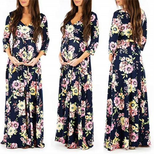 Womens Pregnant Floral Maternity V Neck 3//4 Sleeve Maxi Dress Gown Photography