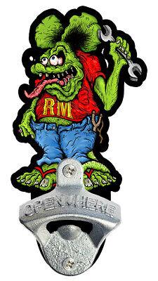 Rat Fink Rat Man Hot Rod Rat Rod Steel Bottle Opener Sign Metal drag dragster
