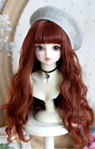 "7-8/"" 1//4 BJD Doll Long Wig Hair Wave Big Curls Light Chestnut Bangs Red Brown v8"