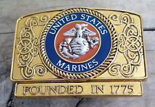 USMC United States Marine Corps Military Bradford Exchange Belt Buckle