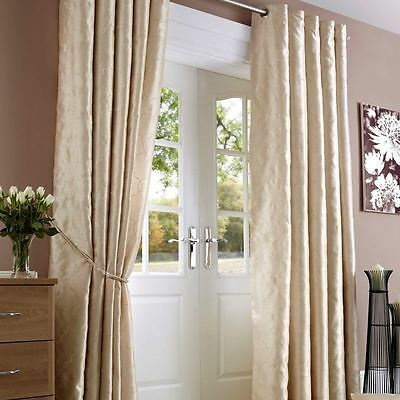 Lined Embroidered Faux Silk Ring Top Curtains - Cream