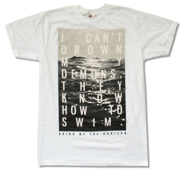 "BRING ME THE HORIZON ""CAN'T DROWN DEMONS"" WHITE T-SHIRT NEW OFFICIAL BMTH"