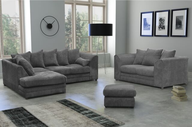 New Milo Fabric Jumbo Cord Grey Corner sofa and 3+2 seater+Swivel Chair sofa
