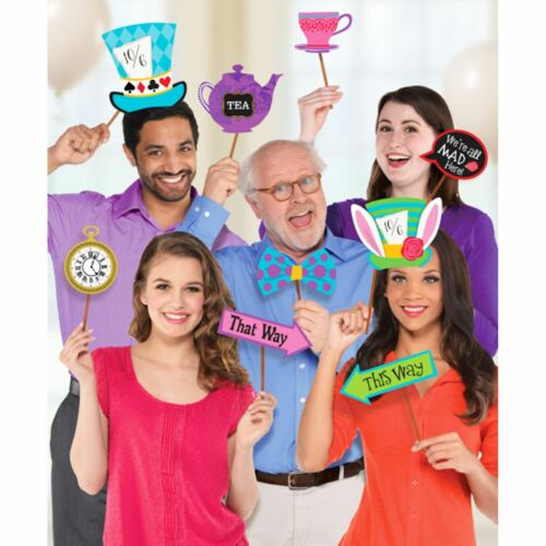 13pc Mad Hatter Tea Party Photo Booth Selfie Prop Kit PAYS DES MERVEILLES conte de fées Party