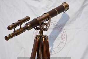 Double-Barrel-Antique-Brass-Telescope-With-Brown-Leather-Wood-Stand-Tripod-32-034