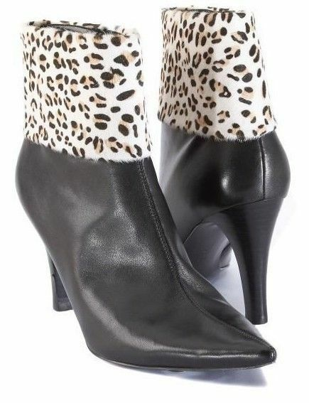 New ENZO ANGIOLINI Women Ankle Blk Leather Pony Hair High Heel Boot shoes Sz 6 M