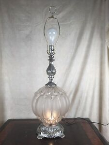 Vintage Ef Ef Silver Clear Retro Bubble Glass Table Lamp 3 Way
