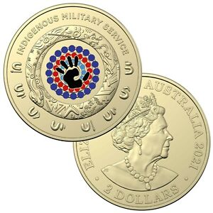 """Australia 2021 Indigenous Military Service $2 Coloured UNC Coin In 2x2"""" Holder"""