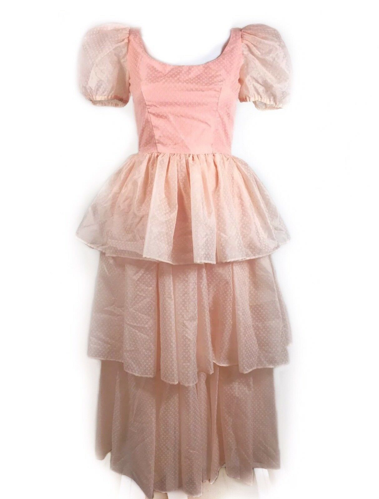 Vtg 40s 50s 3 Layered Pink Poofy Sleeve Prom Dress Ball Gown Girly ...