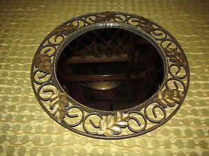 VTG-Metal-Leaf-Design-Wall-Mirror-Frame-or-Vanity-Cosmetic-Tray-Unique