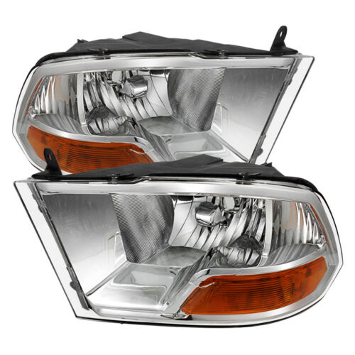 Dodge 09-16 Ram 1500 10-15 2500 3500 Chrome Housing Replacement Headlights Pair