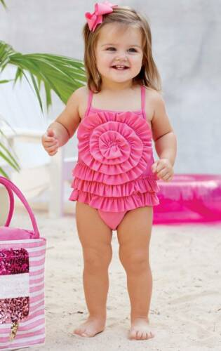Mud Pie Summer Fun Pink Ruffle Swimsuit 0-6M 6-9M 9-12M 12-18M DISCONTINUED
