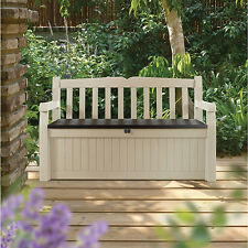 NO TAX NEW Keter Eden 70 gal Beige Brown All-weather Outdoor Patio Storage Bench
