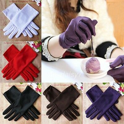 Womens Stretch Satin Gloves Evening Party Wedding Formal Prom Gloves Mittens