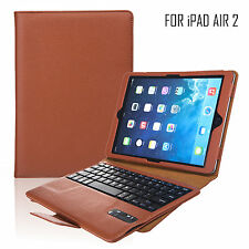 NUOVA CUSTODIA IN PELLE + TASTIERA BLUETOOTH PER APPLE IPAD AIR 2 con supporto wireless Pad