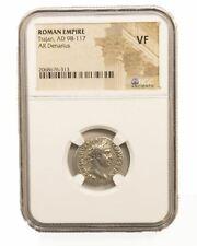 Roman Silver Denarius of Trajan (AD 98-117) NGC (VF)