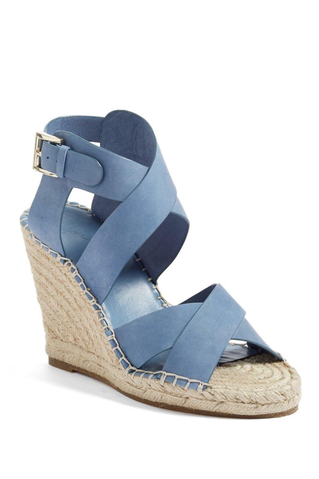 Joie KAELYN Wedge Espadrille Strappy Leather Sandal NIB CLOUD bluee 40 10  278