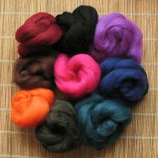 1kg Merino Wool Tops 64's Dyed Fibres - Dark - Felt Making and Spinning