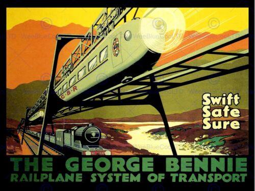 GEORGE BENNIE RAILPLANE GLASGOW COOL SCOTLAND NEW ART PRINT POSTER CC4509