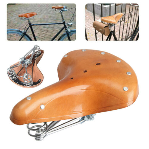 Brown Bicycle Saddle Classic Seat Riding Bike Cycling Accessories Gear