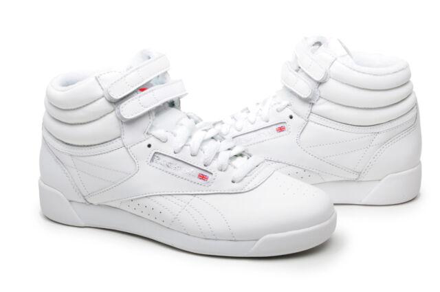 1da1a158a013b Vintage Hi Tops White Leather Womens Classic Freestyle Reebok Size 6 ...