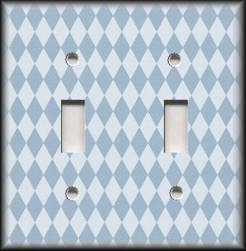 Metal Light Switch Plate Cover Harlequin Diamonds Home Decor Blue